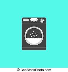 black washing machine isolated on green background