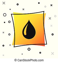 Black Water drop icon isolated on white background. Yellow square button. Vector Illustration