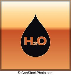 Black Water drop with H2O icon isolated on gold background. Water formula. Vector Illustration
