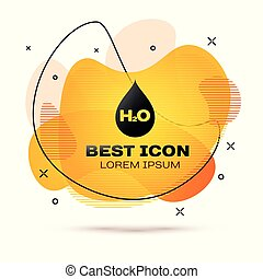 Black Water drop with H2O icon isolated on white background. Water formula. Fluid color banner. Vector Illustration