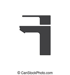 black water tap drop icon. isolated on white background