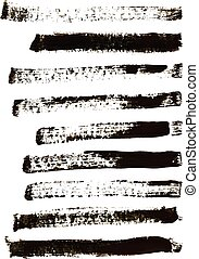 Black watercolor brush strokes set