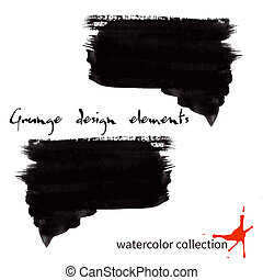 Black watercolor grunge arrows collection