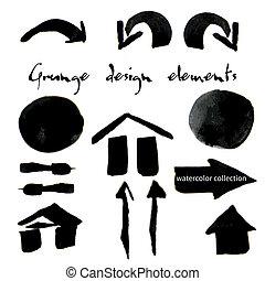 Black watercolor grunge arrows collection?