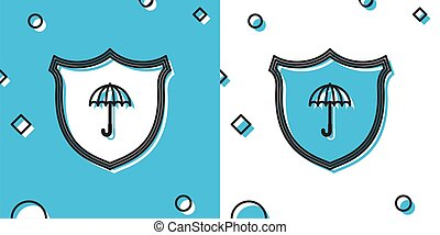 Black Waterproof icon isolated on blue and white background...