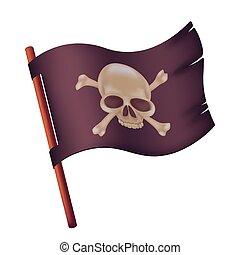 Black waving flag with image of human skull and crossed bones. Vector illustration of torn pirate banner on a wooden stick isolated on white background