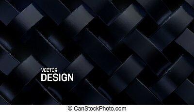 Black weave pattern. Vector 3d illustration.