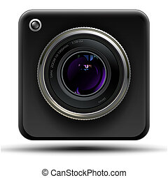 web cam - Black web cam on a white background front view