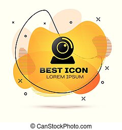 Black Web camera icon isolated on white background. Chat camera. Webcam icon. Fluid color banner. Vector Illustration