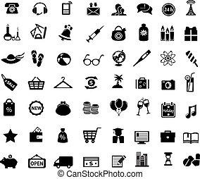 black web icons set