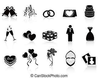 black wedding icons set