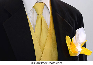 Black Wedding Tuxedo - Yellow vest and tie accenting black...