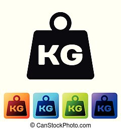 Black Weight icon isolated on white background. Kilogram weight block for weight lifting and scale. Mass symbol. Set icon in color square buttons. Vector Illustration