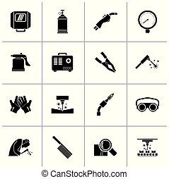 Black Welding and construction tools icons