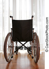 wheelchair in the hospital room without person
