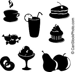 black-white, 食物, デザート, 飲みなさい