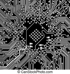 black-white., abstract, achtergrond., vector, circuit plank, technologie