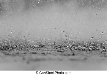 black white abstract background raindrop on the ground