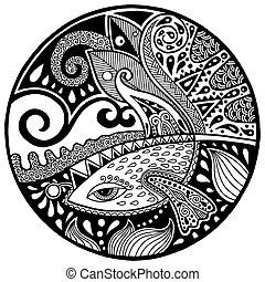 Black white abstract zendala with fish and waves on circle