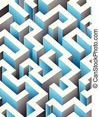 Black, white and blue maze, labyrinth. Endless pattern - vertical version