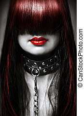 Black white and red fashion portrait of young beautiful...