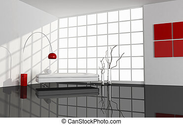 black ,white and red minimal living room