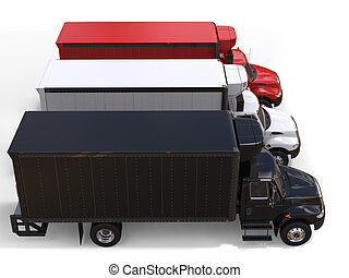 Black white and red refrigerator trucks - top down side view