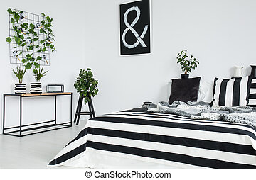 Black, white and striped pillow