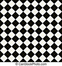 Black, White and Yellow Argyle Pattern Repeat Background