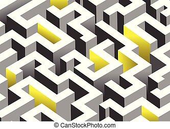 Black, white and yellow maze, labyrinth. Endless pattern - horizontal version