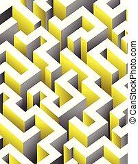Black, white and yellow maze, labyrinth. Endless pattern - vertical version