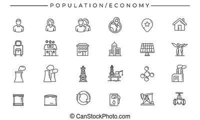 Collection of line icons on the alpha channel on the theme of Population and Economy.