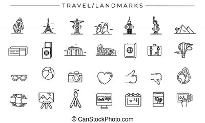 Collection of line icons on the alpha channel on the theme of Travel and Landmarks.