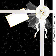 black-white background with a bow and notes