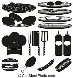 Black white bbq cooking 15 element silhouette set