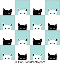 Black White Blue Cat Chess board Background