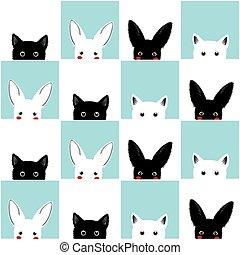Black White Blue Cat Rabbit Chess board Background