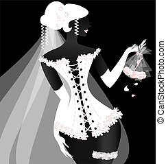 black-white bride - black backgrounde and abstract bride in...