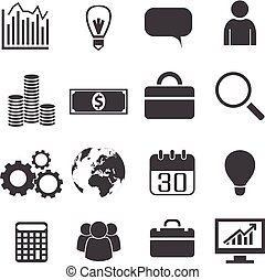 Black White Business Icons Set