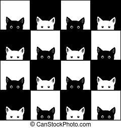Black White Cat Chess board Background