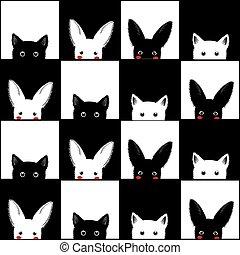 Black White Cat Rabbit Chess board Background