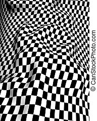 Black-white  checkered plane   made in 3d software