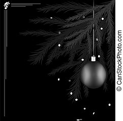 on black background there is black-white branch of Christmas tree