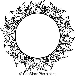 Black white circle frame with spurts of flame. Vector illustration.