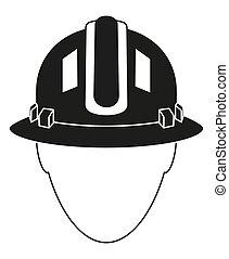 Black white construction worker avatar silhouette. Human...