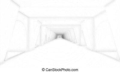 Black white corridor in modern style on soft light background. Interior concept, architecture background. Abstract technology concept. Abstract tech design background.