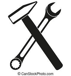Black and white crossed hammer and wrench silhouette. Handyman tools for home repair. Construction themed vector illustration for icon, logo, sticker, label, badge, certificate or flayer decoration