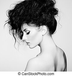 black white fénykép, közül, gyönyörű woman, noha, pazar, haj