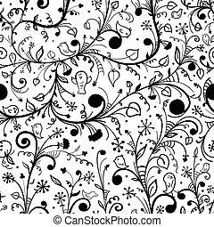 Black-white floral  seamless pattern