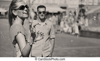 black-white, foto, de, pareja